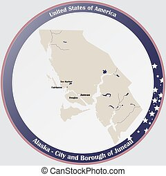 Map of City and Borough of Juneau in Alaska - Round button ...