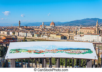 Map of city town on the observation deck in the Piazzale Michelangelo. Florence Italy at sunny day cityscape aerial view.