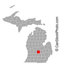 Map of Clinton in Michigan