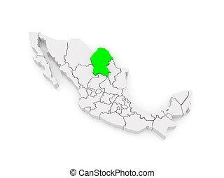 Map of Coahuila. Mexico.