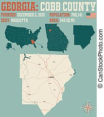 Map of Cobb County in Georgia