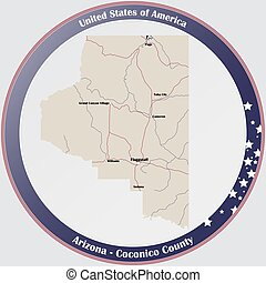 Map of Coconico County in Arizona