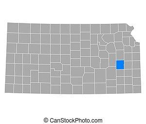 Map of Coffey in Kansas
