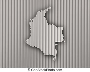 Map of Colombia on corrugated iron