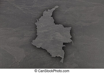 Map of Colombia on dark slate