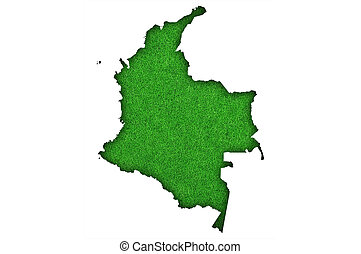 Map of Colombia on green felt