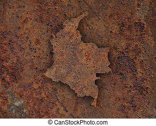 Map of Colombia on rusty metal