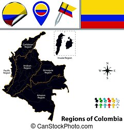 Map of Colombia with Natural Regions - Vector map of...