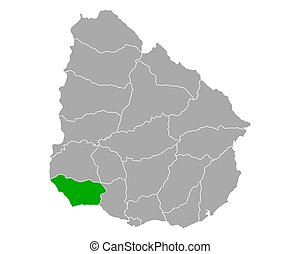 Map of Colonia in Uruguay