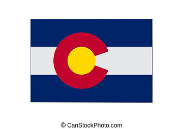 Map of Colorado in the Colorado flag colors