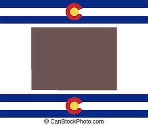 Map of Colorado on background with flag