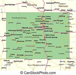 Colorado - Map of Colorado. Shows state borders, urban areas...