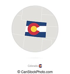 Map of Colorado State and flag in a circle.