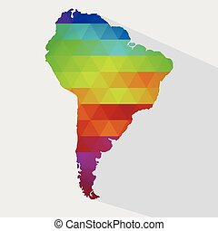 Map of colorful South America
