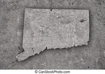 Map of Connecticut on weathered concrete