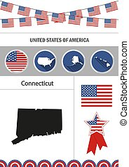 Map of Connecticut. Set of flat design icons nfographics element