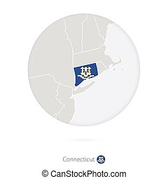 Map of Connecticut State and flag in a circle.