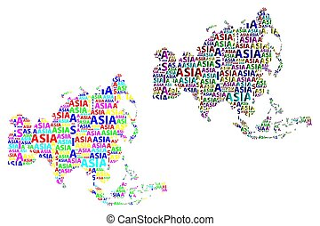 Map of continent Asia - vector illustration