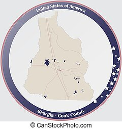 Large and detailed map of Cook county in Georgia, USA.