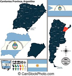 Map of Corrientes Province, Argentina