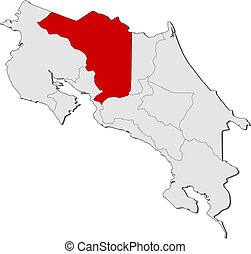 Map of Costa Rica, Alajuela highlighted - Political map of...