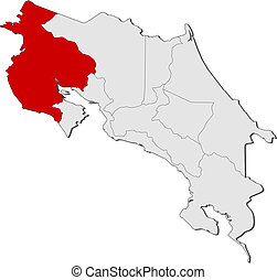 Map of Costa Rica, Guanacaste highlighted - Political map of...