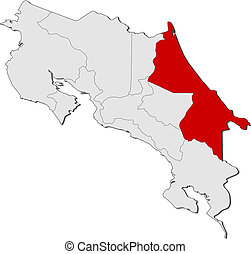 Map of Costa Rica, Limon highlighted - Political map of...