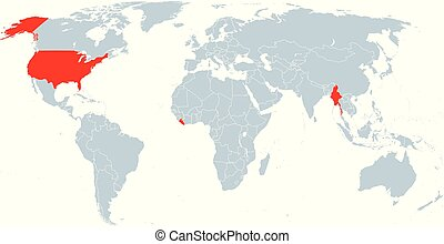 Map of countries officially not using metric units