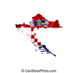Map of Croatia with waving flag isolated on white