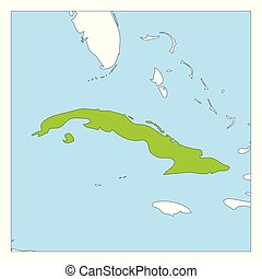 Map of Cuba green highlighted with neighbor countries