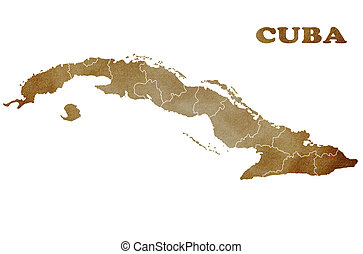 Map of Cuba on a white background