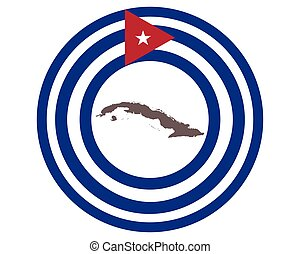 Map of Cuba on background with flag