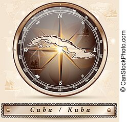 Map of Cuba with borders in bronze