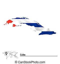 Map of Cuba with flag