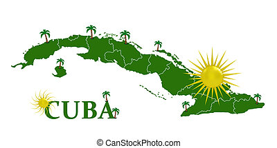 Map of Cuba with the sun and palm trees
