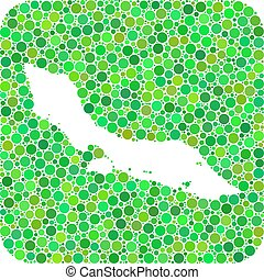 Map of Curacao Island - Dotted Mosaic with Hole - Map of ...