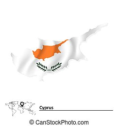 Map of Cyprus with flag