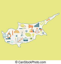 Map of Cyprus with technology icons