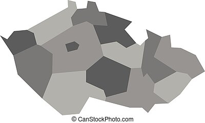 Map of Czech Republic divided into administrative regions. Blank map in four shades of grey. Vector illustration