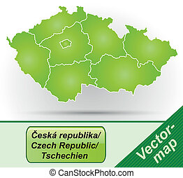 Map of Czech Republic with borders in green