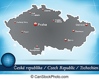 Map of Czech Republic with abstract background in blue