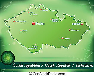Map of Czech Republic with abstract background in green