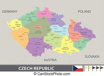 Map of Czech Republic - Vector map of Czech Republic with...