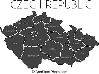 Map of Czech Republic with administrative regions