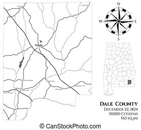Large and detailed map of Dale county in Alabama, USA