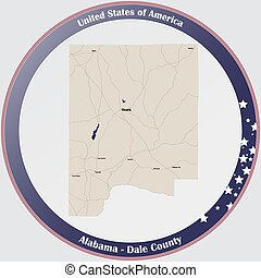 Round button with detailed map of Dale county in Alabama, USA.