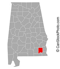 Map of Dale in Alabama