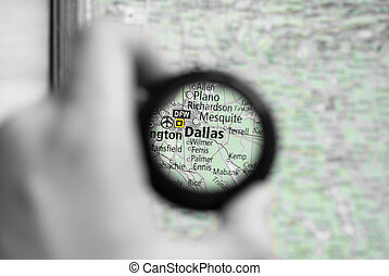 Map of Dallas - Selective focus on antique map of Dallas
