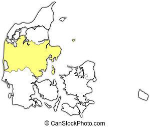 Map of Danmark, Central Denmark highlighted
