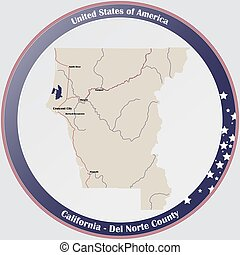 Round button with detailed map of Del Norte County in California, USA.